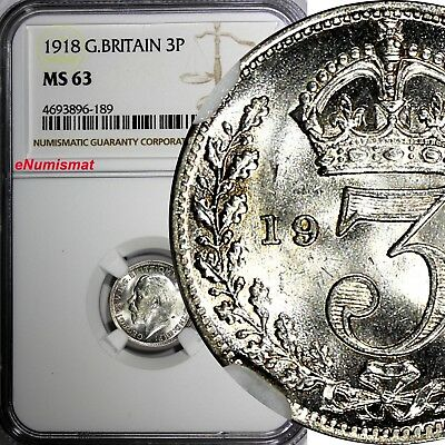 Great Britain George V Silver 1918 3 Pence NGC MS63 Mint Luster KM# 813