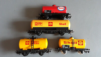 Jouef And Lima Fuel Tanker Wagons X 4 Good Condition Unboxed Oo Gauge(Hb)