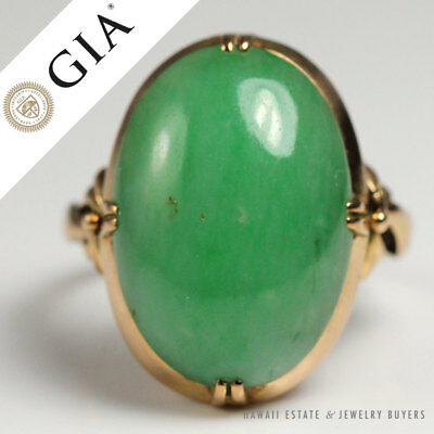 Gia Certified Natural Jadeite Jade Green Grade 18K Yellow Gold Ring Size 6.25
