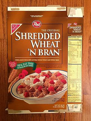 "1998 Vintage (Post) The Original ""SHREDDED WHEAT 'N BRAN"" Cereal Box, RARE!"