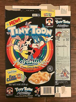 """1990 Vintage (Quaker) """"TINY TOON ADVENTURES"""" (Fan Cards) Cereal Box, RARE!"""