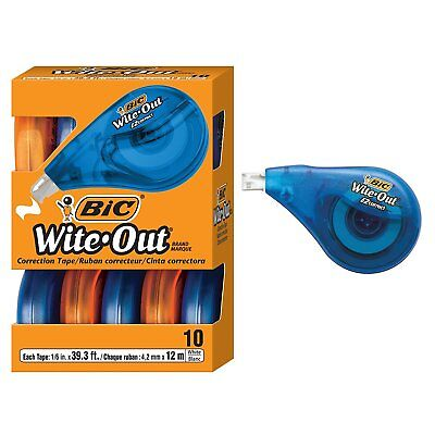 Bic Wotap10  White Out Brand EZ  Correction Tape 10 Count Strong Correction New