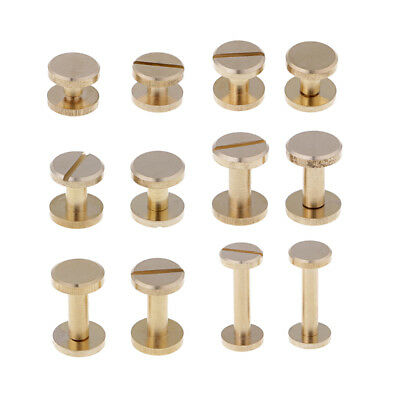 6 Sets Solid Brass Flat Round Head Stud Screwback Leather Craft Chicago Screws