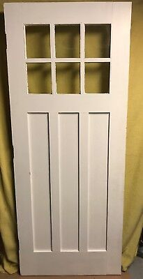 Unique Antique True Shaker Craftsman Wood Exterior Door /w Glass 32x80 6 Pane