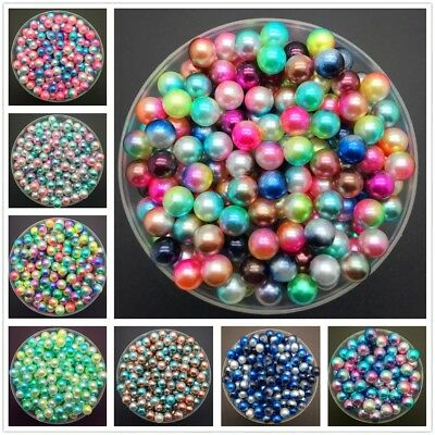 4mm 6mm 8mm No Hole Acrylic Round Pearlized Pearl Loose Beads for Jewelry Making