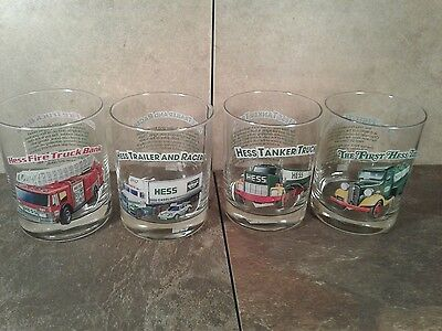1996 - Hess Toy Truck Collector Series Glasses Complete Set of 4 - EUC!