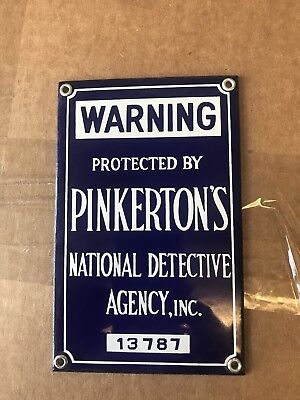 pinkerton security Porcelain Sign NOS And Mint!!!