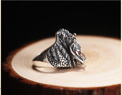 Dragon Ring Unique Style Genuine Sterling Silver Red Gemstone Sz 7 New Handmade