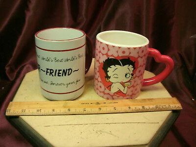 """2 ceramic coffee mugs-2005 Collectible Betty Boop & """"Mentor ~ Friend""""-free ship"""