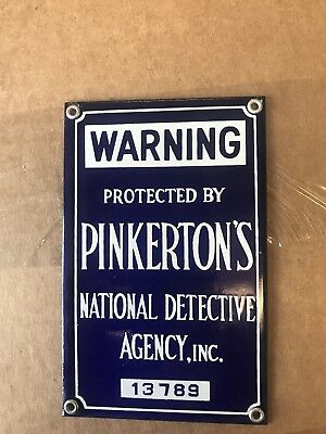 pinkerton security Porcelain Sign NOS And Near Mint!!!