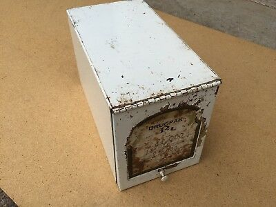 WHITE Antique Metal Drugpak Rx Record File Box Original Insert Early 1900's