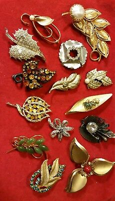 LOT of 14 Antique VINTAGE FAUX PEARL RHINESTONE Brooches Pins GORGEOUS! EVC!