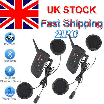 2pcs V6 BT 1200m Motorcycle Helmet Intercom Headset Bluetooth Motorbike 6 Riders