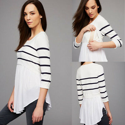 Women's Maternity Clothes Breastfeeding Tops 3/4 Sleeve Nursing T-shirt Blouse