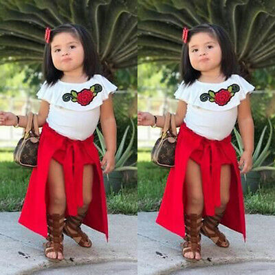 US Stock Toddler Baby Girl Summer Clothes Floral Tops+Shorts Pants+Skirt Outfits