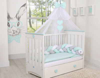 LUXURY 7 pcs BABY BEDDING SET TO FIT BABY COT or COTBED/ KNOT BUMPER