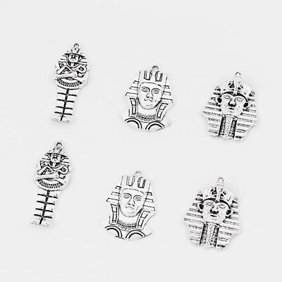 5Pcs Antique Silver Egyptian Pharaoh King Charms Pendant Jewelry Making Findings