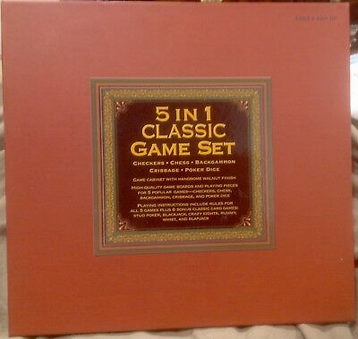 5 in 1 Classic Game Set - WOODEN - Chess, Checkers, Cribbage, Backgammon, Poker