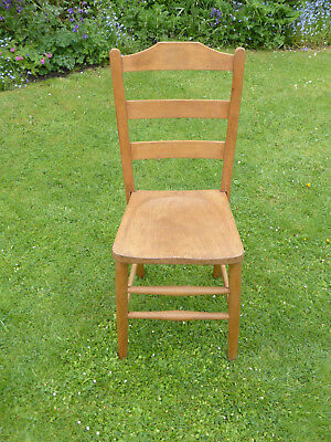 Vntage Beech School Chair. Ladder back on elm panel set.