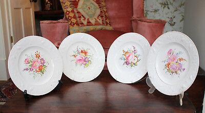 A Fine Set of Four Antique c19th Regency Plates, Hand Painted Flowers, c1820