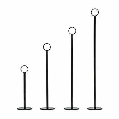 6, 12 or 24pcs X Table Number Stand BLACK, Ring Clip, Menu Card Holder (4 Sizes)