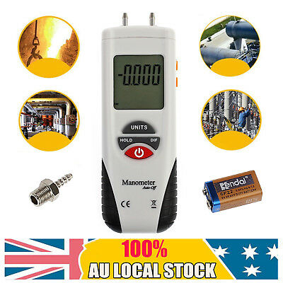 LCD Mini Digital Manometer Differential Gauge Air Pressure Meter Data Hold New