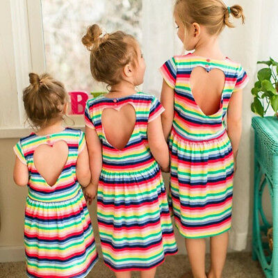 AU Baby Girls Striped Summer Clothing Skirt Kids Casual Sundress Outfit Dress