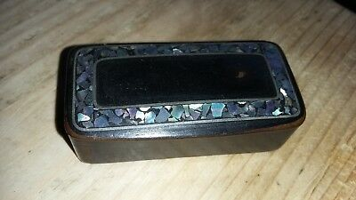 Victorian Paper Mache Snuff Box with Mother of Pearl
