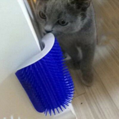 Cute Cat Self Grooming Brush Pet Kitten Wall Corner Groomer Massager Comb+Catnip