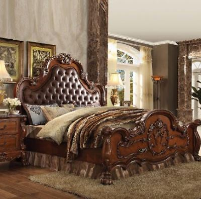 Acme Dresden California King Bed In Pu And Cherry Oak Finish 23134ck