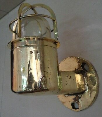 Original Vintage Nautical Marine Small Cast Brass Wall  Ship Passage Light 1  Pc