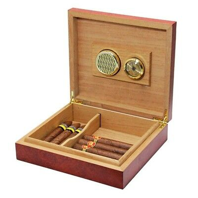 20 Count Cedar Wood Lined Cigar Humidor Humidifier With Hygrometer Case Box C1N6