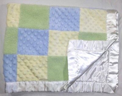 Just One Year Baby Blanket White Yellow Green Blue Square Satin Edge Mink Dot