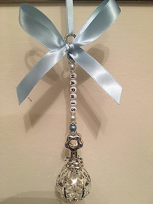 Personalised Pram Charm - Silver Plated Blue Baby Rattle With Swarovski Crystal