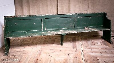 Large 19th Century Original Painted Panelled Tavern / Pub Bench / Pew