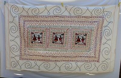 "LARGE throw embroidered wall hanging Indian ethnic 218 x 132 cm / 86 x 52"" VB43"