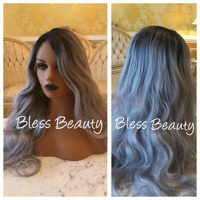 Silver gray ombre curly Hair lace front wig. Human Blend
