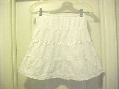 Girls Size S (6 / 6X) Solid White Skirt By Cherokee 100% Cotton Fully Lined
