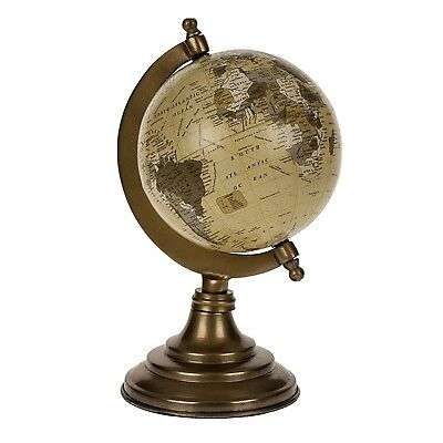 Shabby Chic Gold Globe Old  Vintage Antique World Map Distressed