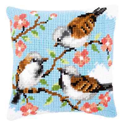 Birds in Flowers Chunky Cross Stitch Kit -Printed Tapestry Cushion Kit - Vervaco