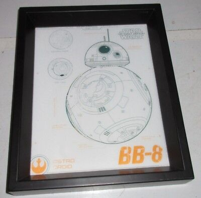 STAR WARS 3 D Framed PICTURE Lucasfilm The Force Awakens BB-8 Astro Droid Hologr