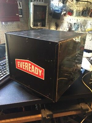 Vintage EVEREADY Revolving Double Sided Metal Store Display