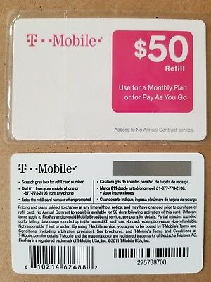 T-MOBILE $50 REFILL CARD. Direct refill to your phone ONLY!