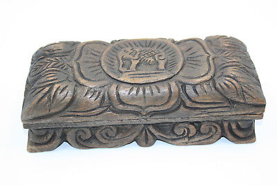 Antique Oriental Wooden Carved Elephant Box with Opium Brass Scales