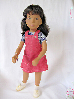 Sasha Doll - Red Pinafore - 1980s  Brunette - Tag - Pamphlet - Box - EXC.