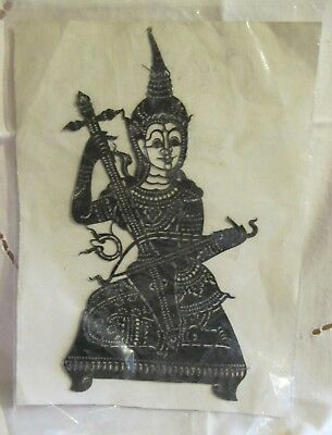 Vintage Paper Cutout Thai  Musician Figure Needs Matting & Frame