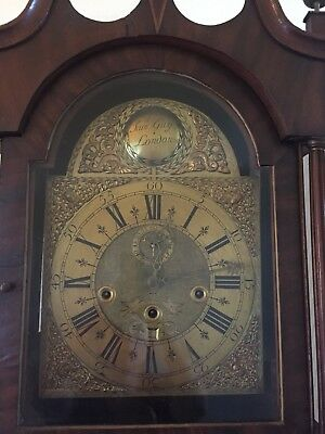 antique grandfather clock, Samuel Guy London. Some damage to casing, for repairs