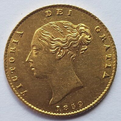 1852 Queen Victoria Shield Back Gold Half Sovereign - Stunning Condition!