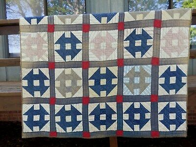 LATE 1800's / EARLY 1900's MONKEY WRENCH  PATTERN QUILT