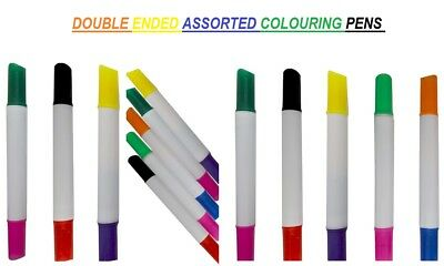 Top Quality Double Ended Assorted Colouring Pens Fibre Tip Markers Fine Nibs UK
